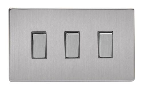 Varilight XDS93S Screwless Brushed Steel 3 Gang 10A 1 or 2 Way Rocker Light Switch (Twin Plate)